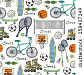 vector seamless pattern with... | Shutterstock .eps vector #258437249