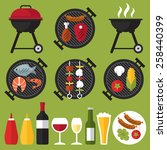 vector set of barbecue and... | Shutterstock .eps vector #258440399