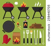 vector set of barbecue tools. | Shutterstock .eps vector #258440705