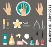 vector set of manicure tools ... | Shutterstock .eps vector #258440711