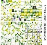 wave mega set  pack backgrounds.... | Shutterstock .eps vector #258455171