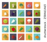 vegetables flat design long... | Shutterstock .eps vector #258461465