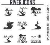 river  and landscape icons | Shutterstock .eps vector #258466844