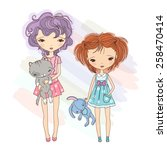 2 small girlfriends with toy... | Shutterstock .eps vector #258470414