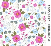floral seamless pattern with... | Shutterstock .eps vector #258472031