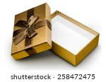 gold box with gifts and brown... | Shutterstock . vector #258472475
