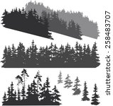 silhouettes of various woods... | Shutterstock .eps vector #258483707