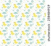 yellow bath duck pattern design | Shutterstock .eps vector #258484919