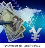 japanese yen and graph... | Shutterstock . vector #258495419