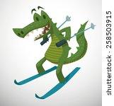 Crocodile Skiing  Vector