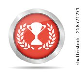 trophy and awards icon on red...