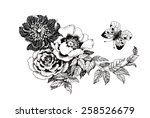 Hand drawn garden flowers with butterfly isolated on white background vector illustration
