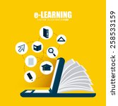 e learning design  vector... | Shutterstock .eps vector #258533159