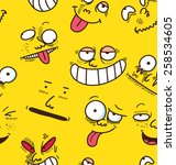 cartoon face seamless background | Shutterstock . vector #258534605