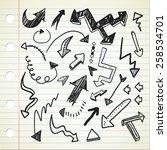set of arrow sign in doodle... | Shutterstock . vector #258534701
