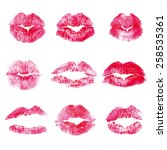 lips prints kisses   nine prints | Shutterstock .eps vector #258535361