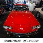 "Small photo of MAASTRICHT, NETHERLANDS - JANUARY 09, 2015: Sports car Ferrari 330GT 2+2 ""Interim"", 1965. International Exhibition InterClassics & Topmobiel 2015"