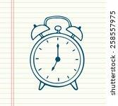 hand drawn cartoon alarm clock  ... | Shutterstock .eps vector #258557975