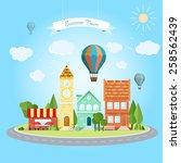flat summer town. vector... | Shutterstock .eps vector #258562439