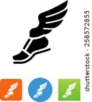 foot with wings   messenger... | Shutterstock .eps vector #258572855