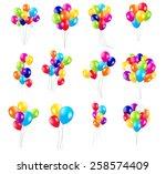 color glossy balloons  mega set ... | Shutterstock .eps vector #258574409