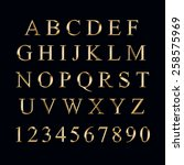 gold alphabet with numbers on a ... | Shutterstock . vector #258575969