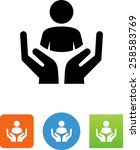 hands with user icon