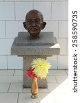 Small photo of TITAGARH, INDIA - FEBRUARY 09, 2014: Memorial to Mahatma Gandhi in Gandhiji Prem Nivas( Leprosy center), established by Mother Teresa and run by the Missionaries of Charity in Titagarh, India