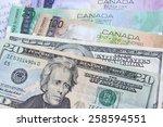 canadian dollars vs. us dollars ... | Shutterstock . vector #258594551