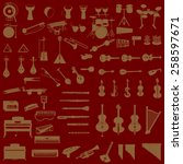 different music instruments in... | Shutterstock .eps vector #258597671
