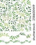 watercolor hand sketched green...   Shutterstock .eps vector #258600449