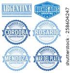 set of argentina cities stamps... | Shutterstock .eps vector #258604247