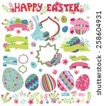 easter cute set.flowers eggs... | Shutterstock .eps vector #258604931