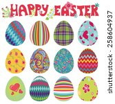 easter eggs with ornaments... | Shutterstock .eps vector #258604937