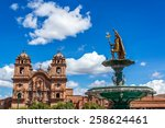 Church And Incan Fountain In...