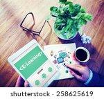 e learning student study online ... | Shutterstock . vector #258625619