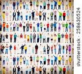 multiethnic casual people... | Shutterstock . vector #258630524