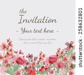 flower wedding invitation card  ... | Shutterstock .eps vector #258632801