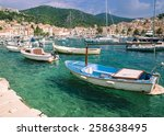 boat harbor blue green ocean... | Shutterstock . vector #258638495