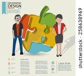 puzzle info graphic design... | Shutterstock .eps vector #258638969
