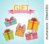 colorful vintage gift postcard...   Shutterstock .eps vector #258643301