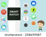 cartoon style smart watch... | Shutterstock .eps vector #258659087