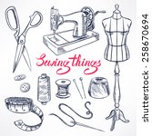 set with sketch tailoring... | Shutterstock .eps vector #258670694