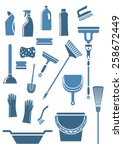 domestic tools and supplies for ... | Shutterstock .eps vector #258672449