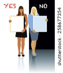 two women holding blank posters.... | Shutterstock .eps vector #258677354