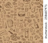 sketchy beer and snacks  vector ... | Shutterstock .eps vector #258687971