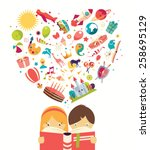 imagination concept  boy and... | Shutterstock .eps vector #258695129