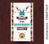 happy birthday card invitation  ... | Shutterstock .eps vector #258697619
