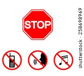 prohibition signs  set vector... | Shutterstock .eps vector #258698969