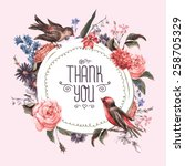 vintage watercolor greeting... | Shutterstock .eps vector #258705329